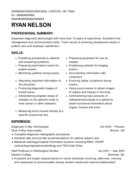 Dixie X Ray Asscociates Diagnostic Technologist Resume Sample