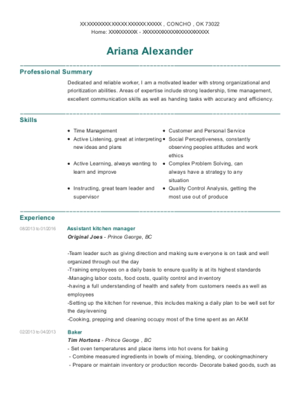 Assistant Kitchen Manager resume template Oklahoma