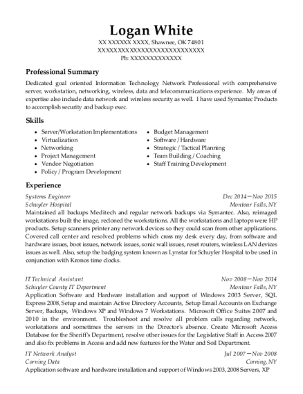 Systems Engineer resume template Oklahoma
