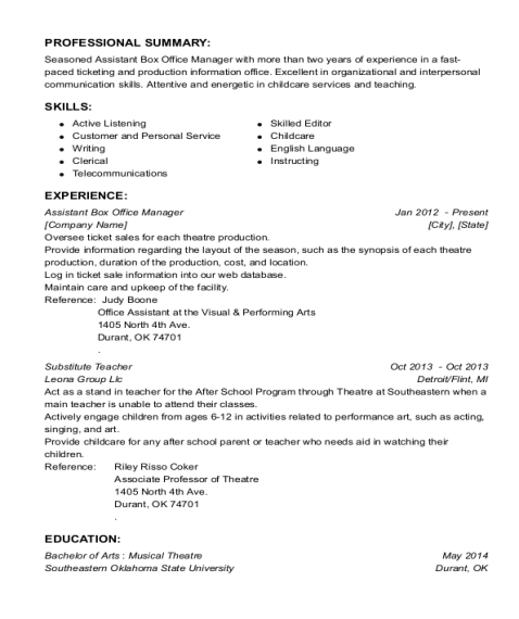 Assistant Box Office Manager resume example Oklahoma