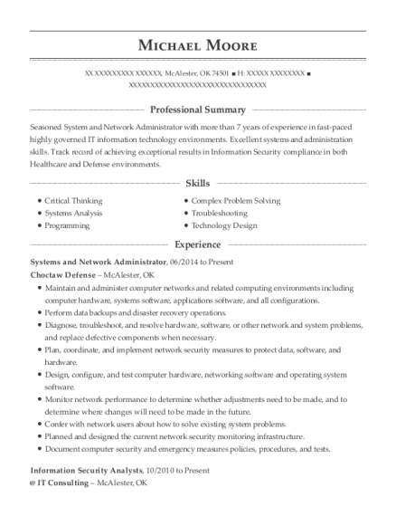 Systems and Network Administrator resume template Oklahoma
