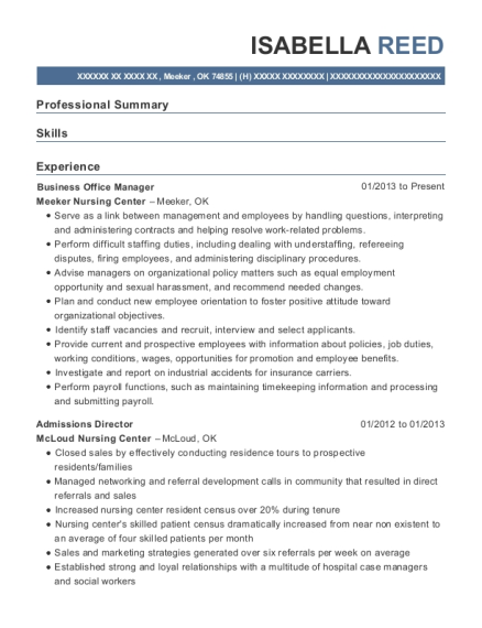 Business Office Manager resume sample Oklahoma