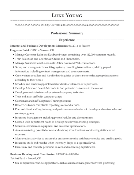 Internet and Business Development Manager resume format Oklahoma