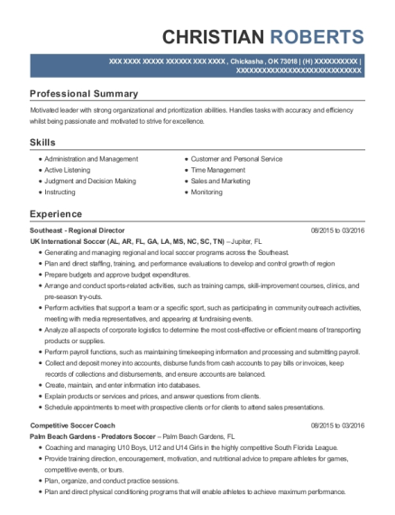 Southeast Regional Director resume template Oklahoma