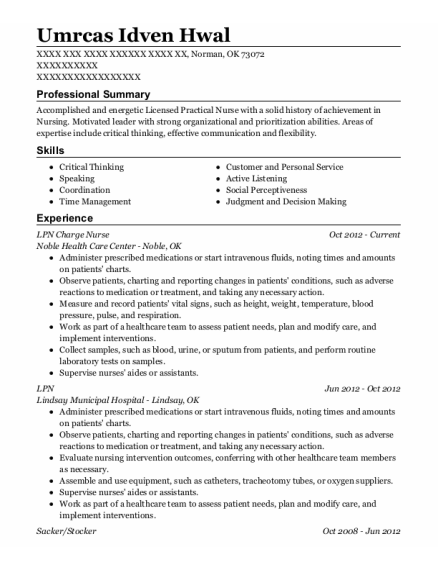 LPN Charge Nurse resume sample Oklahoma