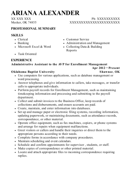 Administrative Assistant to the AVP for Enrollment Management resume format Oklahoma