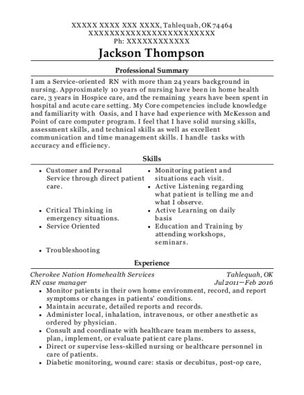 RN case manager resume sample Oklahoma