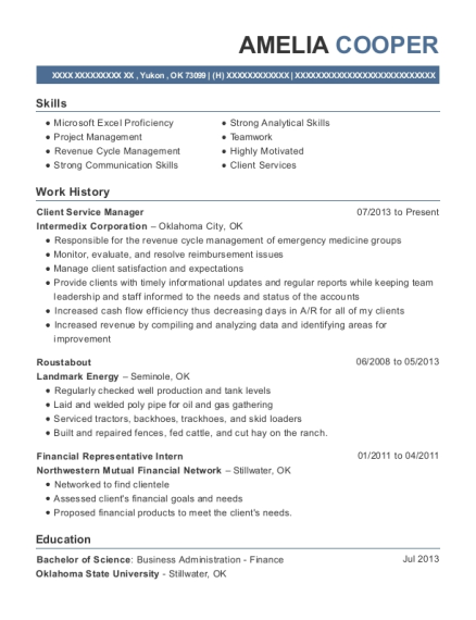 Client Service Manager resume format Oklahoma