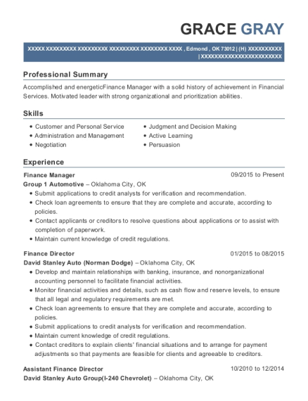 Finance Manager resume template Oklahoma