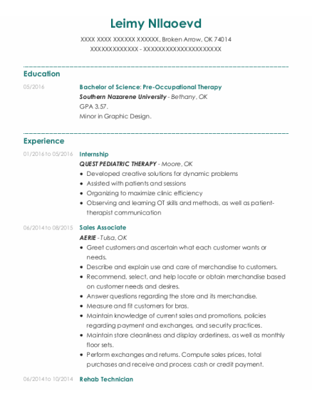 Internship resume example Oklahoma