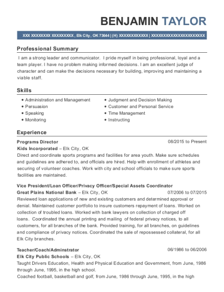 Programs Director resume sample Oklahoma