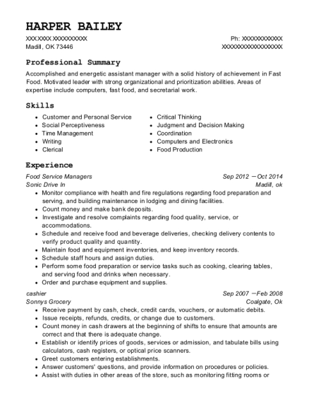 Food Service Managers resume format Oklahoma