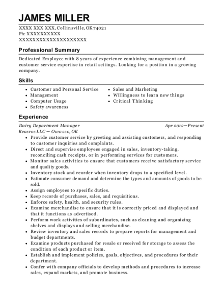 Dairy Department Manager resume example Oklahoma