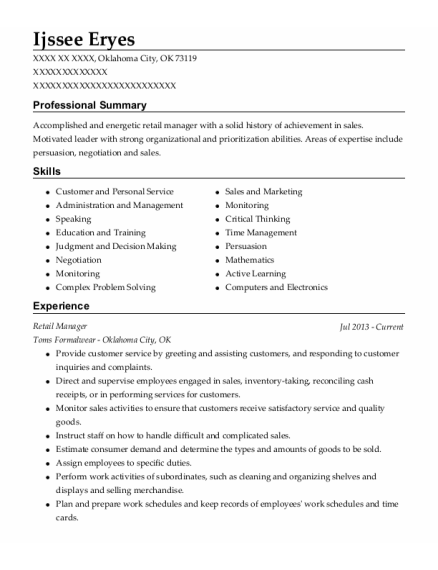 Retail Manager resume format Oklahoma
