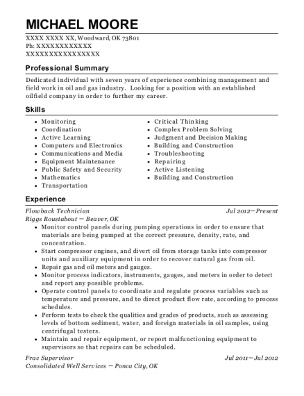 ws energy services flowback operator resume sample