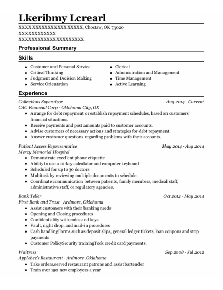 Collections Supervisor resume example Oklahoma