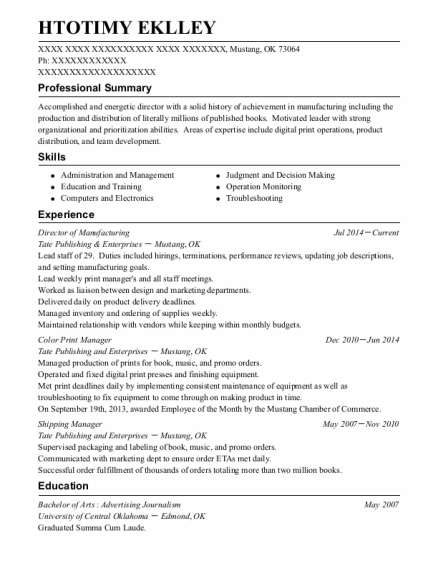 Shipping Manager resume sample Oklahoma