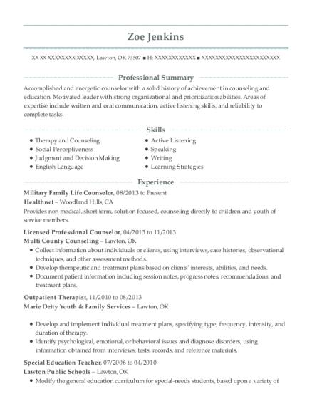 selfemployed licensed professional counselor resume sample