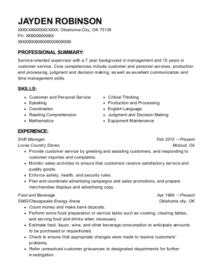 Shift Manager resume sample Oklahoma