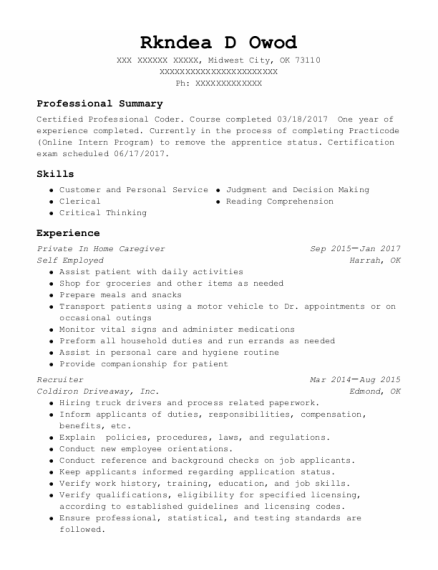 Private in home caregiver resume format Oklahoma