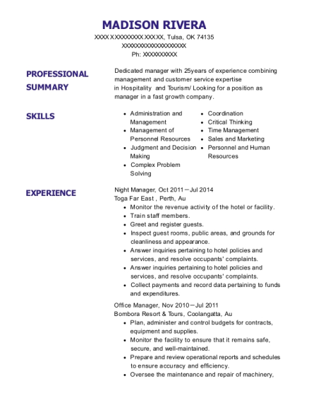 Night Manager resume format Oklahoma