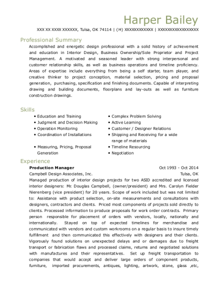 Production Manager resume example Oklahoma