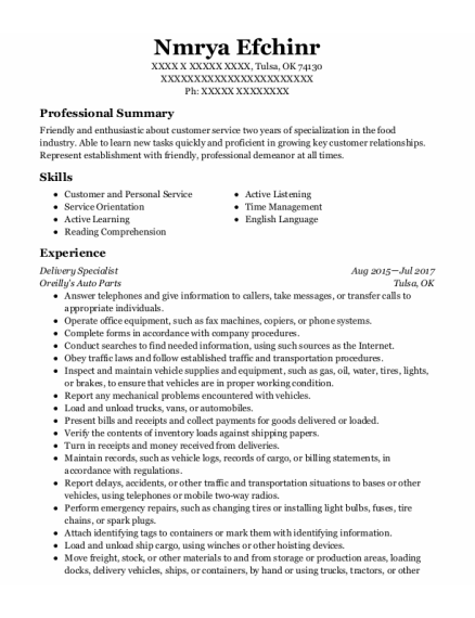Delivery Specialist resume template Oklahoma