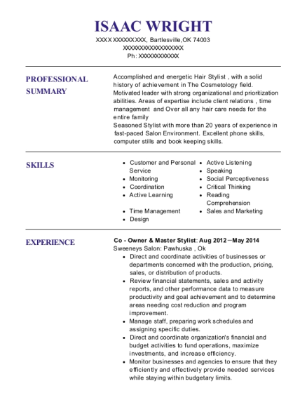 allstate co owner resume sample