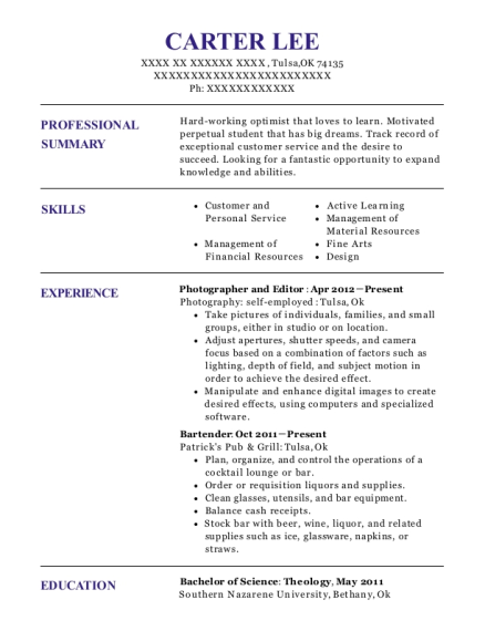 Photographer and Editor resume sample Oklahoma