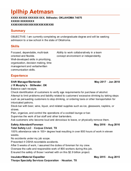 Shift Manager resume template OKLAHOMA