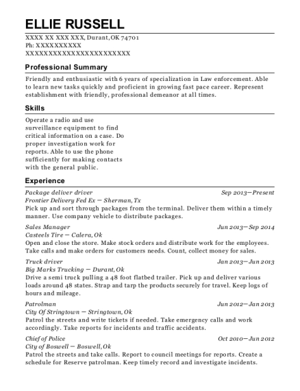 Package deliver driver resume example Oklahoma