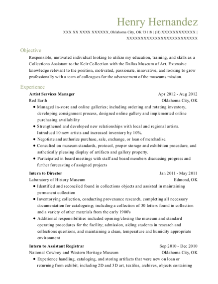 Artist Services Manager resume format Oklahoma
