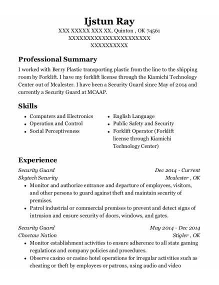 Security Guard resume sample Oklahoma