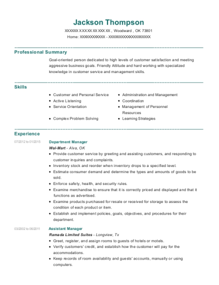 Department Manager resume sample Oklahoma