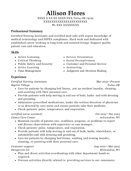 Certified Nursing Assistants resume example Oklahoma