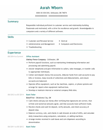 Office Assistant resume example Oklahoma