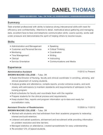 Administrative Assistant resume example Oklahoma