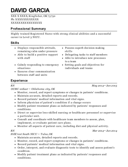 RN resume sample Oklahoma