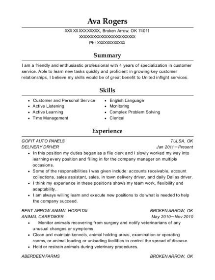 DELIVERY DRIVER resume example Oklahoma