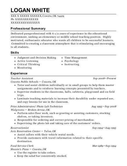 Teacher Assistant resume example Oklahoma