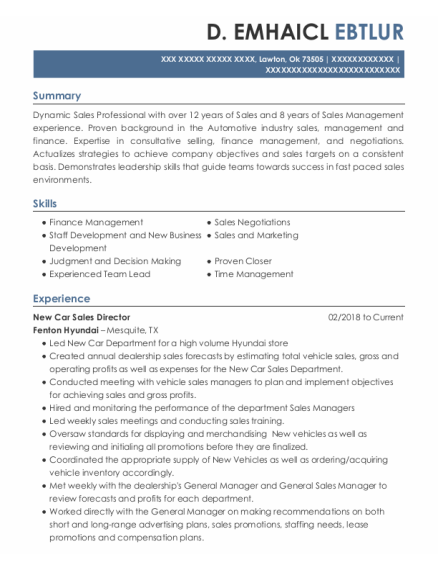 Assistant Sales Manager resume format Oklahoma