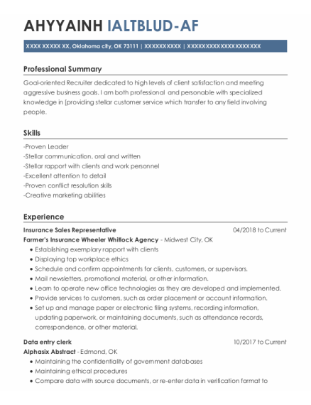Insurance Sales Representative resume example Oklahoma