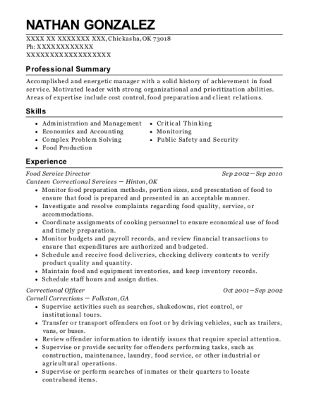 Food Service Director resume template Oklahoma