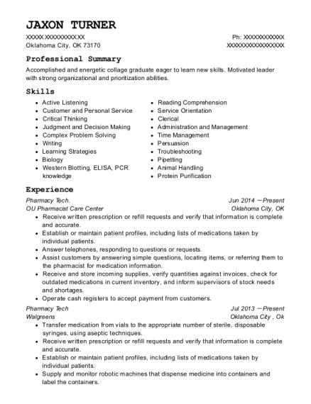 Pharmacy Tech resume sample Oklahoma