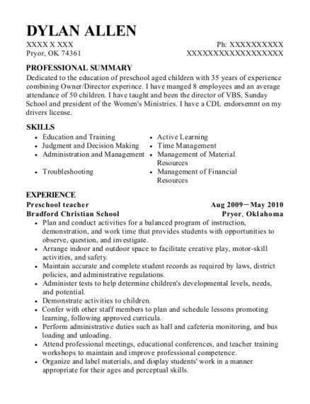 Preschool Teacher resume example Oklahoma