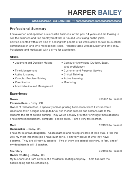 Owner resume example Oklahoma