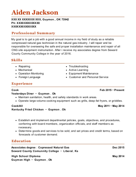 Cook resume format Oklahoma