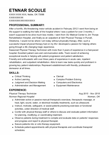 Physical Therapy Technician resume sample Oklahoma