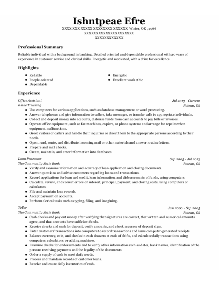Office Assistant resume template Oklahoma