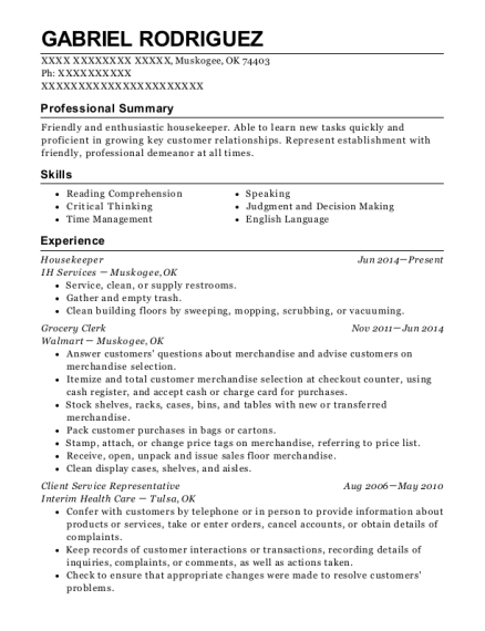 Housekeeper resume example Oklahoma